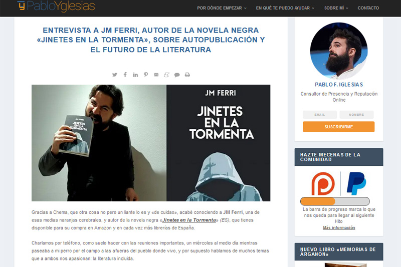 Entrevista en el blog de Pablo Yglesias