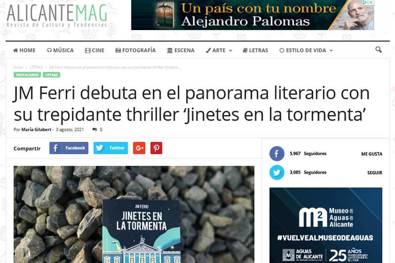 Alicante MAG: JM Ferri y su trepidante thriller «Jinetes en la Tormenta»